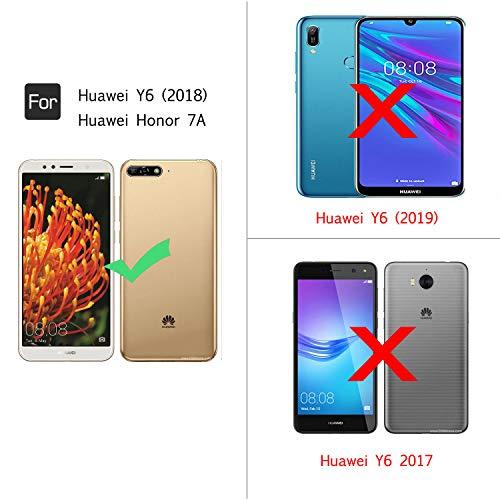 LeYi Hülle Huawei Y6 2018 Glitzer Handyhülle mit Panzerglas Schutzfolie(2 Stück), Diamond Cover Bumper Schutzhülle für Case Huawei Y6 2018 Handy Hüllen ZX Gradient Turquoise Purple - 2