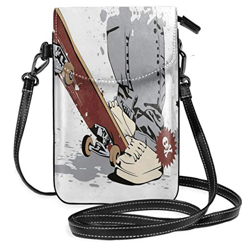 Women Small Cell Phone Purse Crossbody,Skateboard With Boy Feet In Sneakers And Jeans Illustration