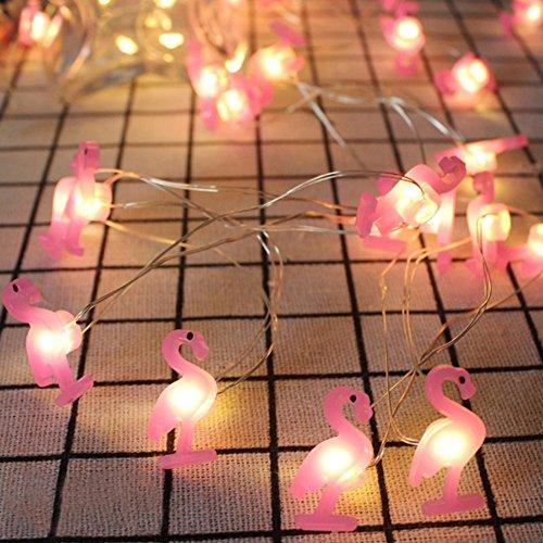 LED-Lichterkette, warmweiß, dekorative Feen-Lichterkette, 2m, 20 LEDs für Innen- und Außenbereich, Geburtstag, Hochzeit, Urlaub, Partys und Heimdekoration Flamingo