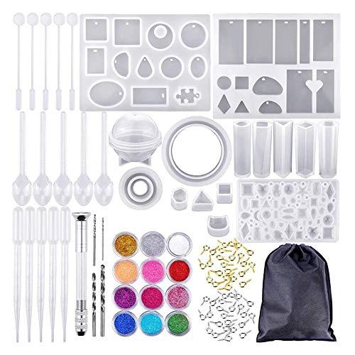Juego de herramientas de colado de cristal para colgante y joyería, con combinación de moldes de silicona para bricolaje, 83 unidades