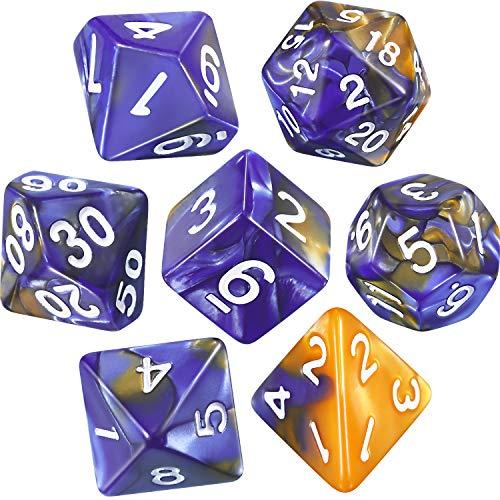 Set di Dadi Poliedrici 7-Die per Dungeons e Dragons con Sacchetto Nero (Blu Oro)