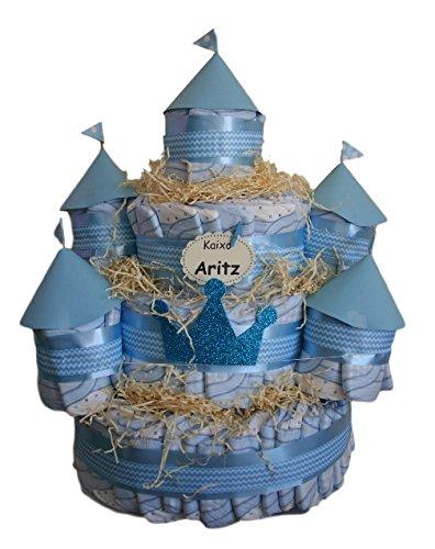Castillo de pañales Azul, 120 pañales Dodot, tarta de pañales ideal como...