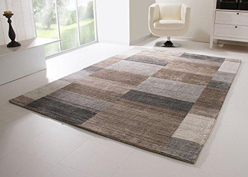 Designer Teppich Modern Orlando handgewebt in Camel bunt, Rugmark Zertifiziert, Größe: 70x140 cm