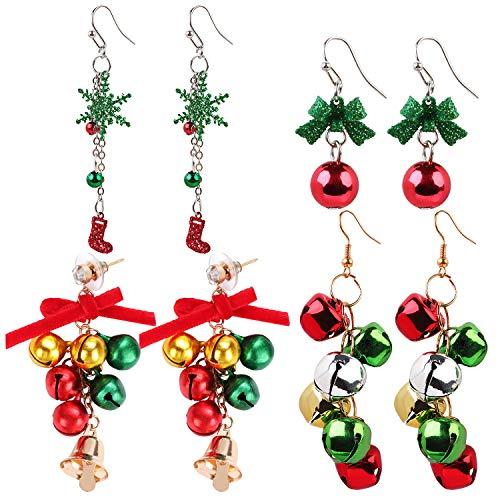 ZOYLINK 4 pares Sra. Pendientes de Navidad Pendientes de bolas de Navidad Pendientes creativos de Navidad Decoración navideña, incluidos calcetines navideños, campanas navideñas y decoración de copos