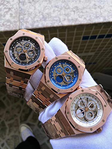 LKYH Classic Wristwatch Men Rose Gold Blue Black Automatic Mechanical GMT Skeleton Moonphase Sapphire Silver Luminous Watch TransparentWhite