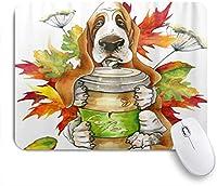 VAMIX マウスパッド 個性的 おしゃれ 柔軟 かわいい ゴム製裏面 ゲーミングマウスパッド PC ノートパソコン オフィス用 デスクマット 滑り止め 耐久性が良い おもしろいパターン (犬の品種バセットハウンドホールディンググラスのコーヒーの花の葉)