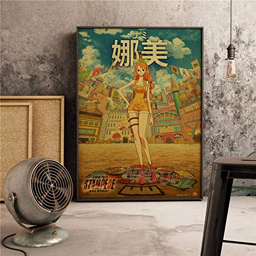 SDFSD Classic Japan Anime Cartoon Adventure Movie Retro Poster pictórico One Piece Character Luffy Nursery Kids Room Lienzo de Pintura 84x112cm K