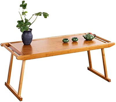 Table Bamboo Folding Small Stylish Bay Window Simple Small Low Study Kung Fu Tea Notebook Study (Color : Wood Color, Size : 96 * 43 * 39cm)