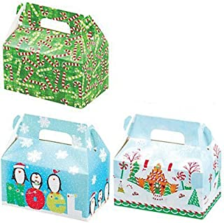 Lindy Bowman Christmas Holiday Treat Boxes with Gift Tags, Set of 3