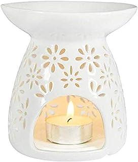 ノンスティック アロマランプワックス融体ウォーマー電気ワックス融体ウォーマーキャンドルランプ油ウォーマーフレグランスランプのエッセンシャルオイルバーナーナイトライト (Color : White)