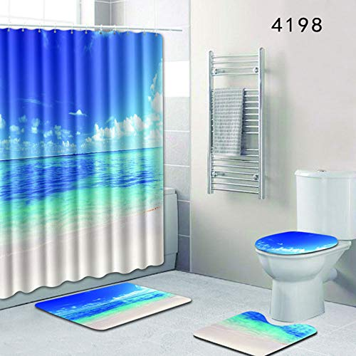 KEAINIDENI toiletmat Scenery of Ocean 4pcs badkamer douchegordijn en tapijtset toiletmat accessoires blauw tapijt 50x80 anti-slip voetkussens voor cadeau 50x80 40x50 35x45 4198