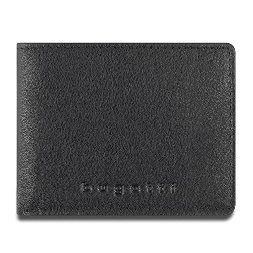 Bugatti Punto Geldbörse Herren Leder – Portemonnaie Herren Querformat Schwarz – Geldbeutel Portmonee Wallet Brieftasche Männer Portmonaise