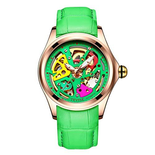 Baoblaze TEVISE Reloj de Pulsera Mecánico Automático Impermeable Multifuncional para Hombres - Verde + Oro Rosa