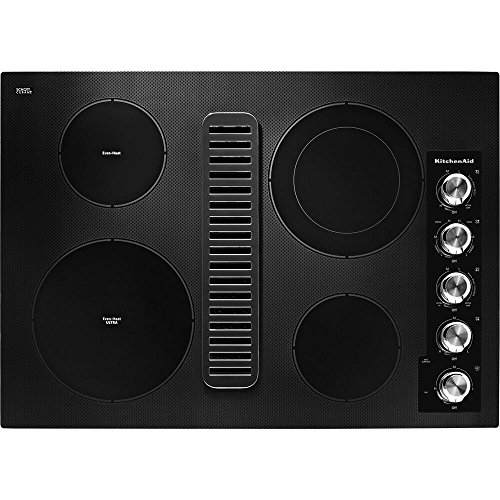 KitchenAid KCED600GBL 30 Electric Downdraft Cooktop with 4...