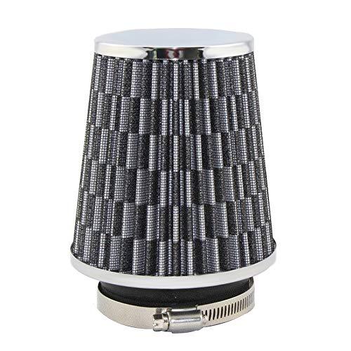 SDUIXCV Filtro DE Aire Universal 76mm 3 Pulgadas De Alto Flujo De Carro Filtro De Admisión De Aire Frío De Aluminio Tela No Tejida Manguera De Admisión A Prueba De Aire (Color : Silver Carbon)