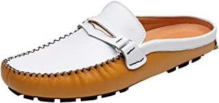 Abby 3238 Mens Moccasins Clogs Casual Slip-on Open Back Leather