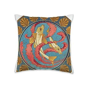 Retro Vintage Movie posters Prints Ads Art Nouveau Fish Red Seaweed Sea Shells Design Throw Pillow 16x16 Multicolor