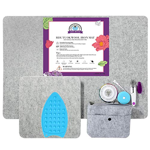 """Rdutuok 17"""" X 24"""" Wool Pressing Mat for Quilting Large Size & 10"""" X 10"""" Portable Size 100% Wool Ironing Pad with Scissors, Tape,Felt Storage Pouch Case and 40Pcs Sewing Pins"""