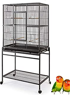 Mcage Large Wrought Iron Flight Canary Parakeet Cockatiel Lovebird Finch Cage with Removable Stand