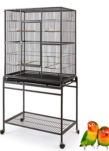 Mcage Large Wrought Iron Flight Canary Parakeet Cockatiel Lovebird Finch Cage with Removable Stand...