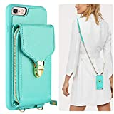 iPhone 6 Plus Wallet Case, JLFCH iPhone 6S Plus Crossbody Leather Zipper Case with Card Slot Holder Lanyard Buckle Closure Detachable Wrist Strap Chain for Apple iPhone 6/6S Plus 5.5 inch - Mint Blue