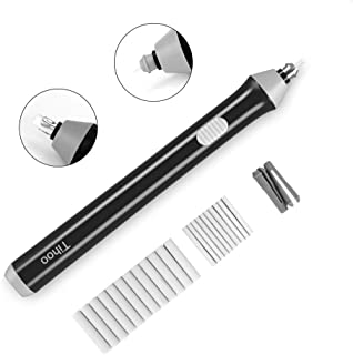 Tihoo Electric Eraser Kit Automatic Pencil Eraser with 22pcs Additional Replaceable Rubbers (Diameter 2.3mm 10 pcs and 5mm 12 pcs)(black and grey) (black)