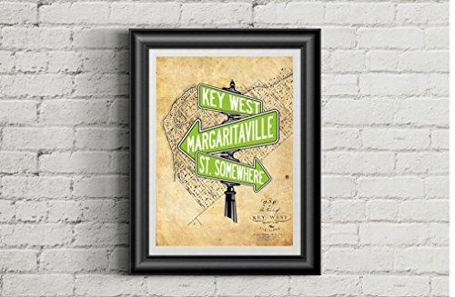 JIMMY BUFFETT Inspired 11x14 Poster Print   Key West   Margaritaville