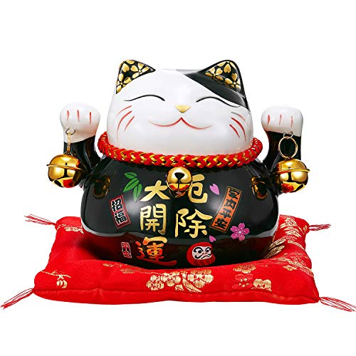 RandJ Maneki Neko Japanese Lucky Cat with Two Bells...