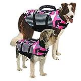 MAZORT Dog Life Jacket, Camouflage Lifesaver Vest, Reflective & Adjustable Preserver with Rescue Handle for Swimming Boating & Canoeing (Pink, X-Large)