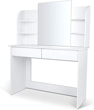 amzdeal Coiffeuse Table de Maquillage avec Grand Miroir. Grande Coiffeuse Moderne avec 2 Tiroirs et 6 Étagères, 108x140x40cm,