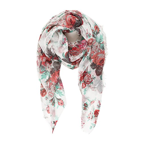 Scarf for Women Lightweight Floral Flower Scarves for Fall Winter Shawl Wrap (P010-1)