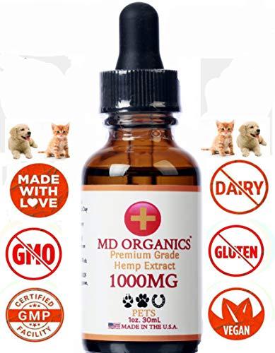 MD Organics 1000mg Pet Cáñamo Puro Aceite para Mascotas Perro Gato C