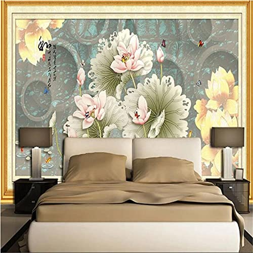 Guyuell Custom Photo 3D Wallpapers Chinese Style Nature Walls Murals Vintage Flowers for Living Room Bedroom Home Decor Background Walls-120X100Cm