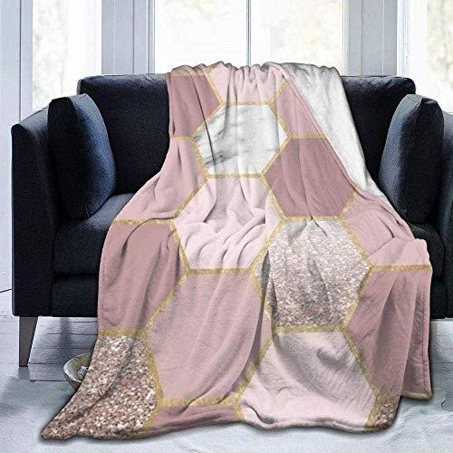 CVMFE Throw Blanket,Sensations Of The Mind Rose Gold,Warm Ultra Soft Flannel Fleece Light Weight Blanket Sofa Bed Living Room Bedroom for Adult Children