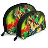 Bolsa de Maquillaje Butterfly Garden Flowers Colors Summer Portable Shell Clutch Pouch para Mujeres Paquete 2
