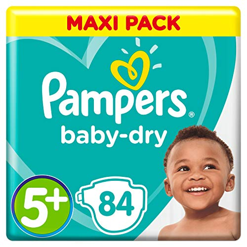 Pampers Baby-Dry Windeln, Gr. 5+, 12kg-17kg, Dreier-Pack (1 x 84 Windeln)