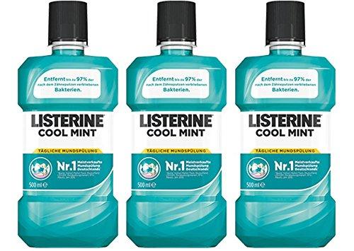 LISTERINE Cool Mint – Antibakterielle Mundspülung mit frischem Minzgeschmack – Für gesunde Zähne – 3er Pack (3 x 500 ml)