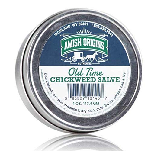 Amish Origins Old Time Chickweed Salve 4 oz- The Ultimate Poison Ivy/Poison Oak Blocker, Healing Salve for Skin Disorder, Irritations, Burns, Minor Cuts, Dry Skin, Great for Itching