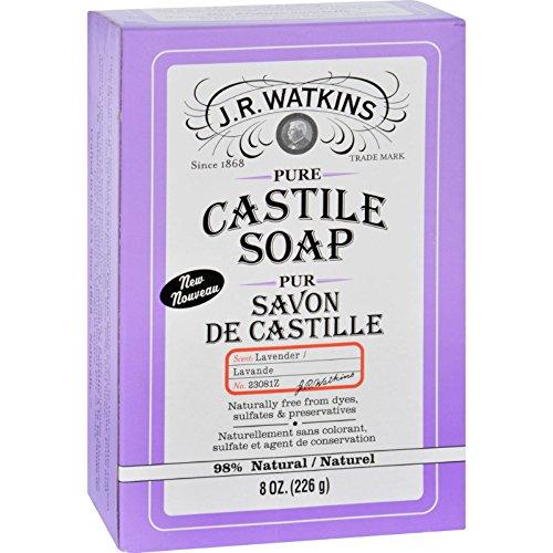 J.R. Watkins Bar Castile Soap - Lavender - Natural - Free From Dyes - 8 oz (Pack of 3)