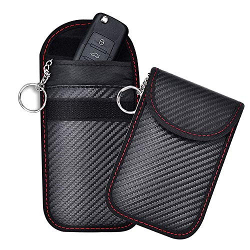 2 Stücke Keyless Go Schutz Autoschlüssel, Signal Blocker Tasche für Schlüsselbund,PU Leder Strahlenschutz Abschirmung Blocking Faraday Handy Abhörschutz RFID/NFC/WLAN/GSM/LTE