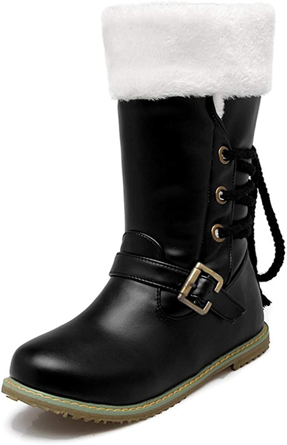 Exclusive shoesbox Women's Weatherproof Flat Platform Boots Buckle Strap Comfortable Winter shoes Lace Up Cotton Snow Boots