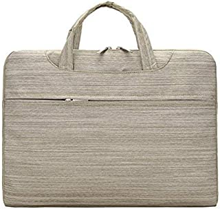 Shoulder Bag Laptop Bag Portable Computer Bag Waterproof Multi - Functional Fashion Leisure Business Handbag Clutch (Color : Khaki, Size : 15 inches)
