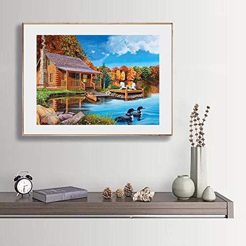n a 5D Diamantmalerei Riverside Cabin Cross Stitch Besticktes Strassmosaikbild Home Decoration Diamantmalerei Quadratischer Bohrer Diamantzeichnung 30 * 40Cm NA