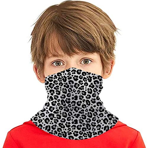 Best-design Texture Repeating Snow Leopard Versatile Multifunction Headwear Neck Gaiter Balaclava Helmet Liner Riding Face Cover for Kids Outdoors UV Protection