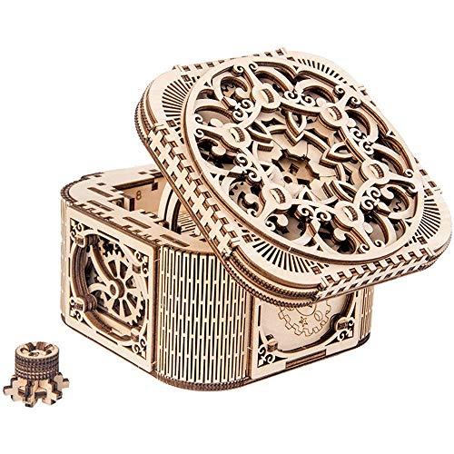 QYWJ Joyero de Madera, Caja de Almacenamiento de joyería ensamblada de transmisión mecánica, Organizador de joyería Creativo para almacenar brazaletes, aretes, Collar, Broche o más