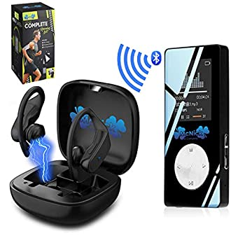 MCNICK & COMPANY Wireless Earbuds and Bluetooth Mp3 Player 8GB 2000 Songs - 8 Hour Ear Buds Play Life