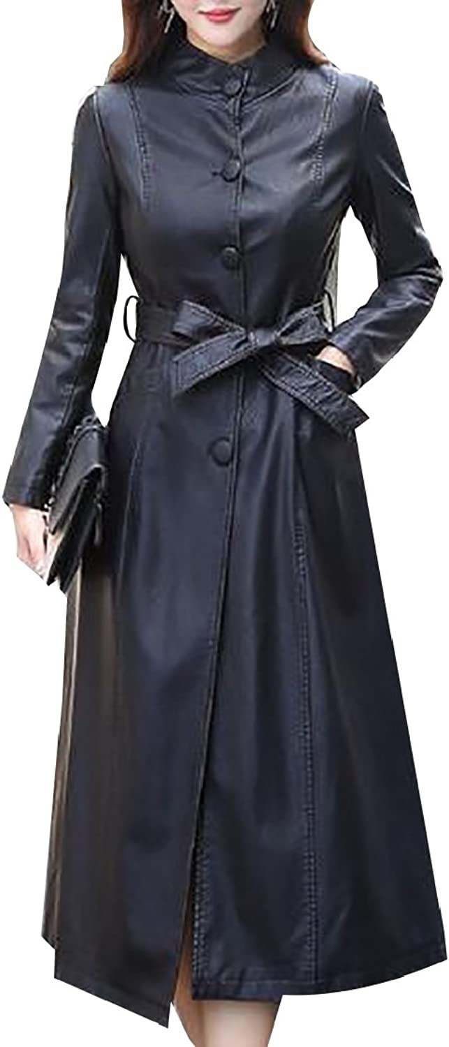 GAGA Women's Basic Slim Fit Trench Coat Overcoat Long Faux Leather Jacket