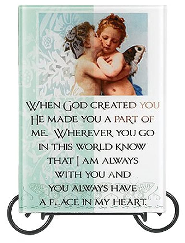 For My Love When God Created You Photo Table Mirror Plaque with Stand