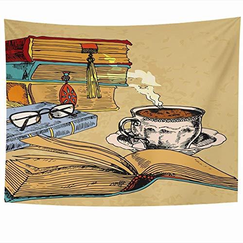 AdoDecor Decoración del hogar Literatura Libros Antiguos Taza Diseño de Biblioteca de Color café Colgante de Pared 40x60 Pulgadas