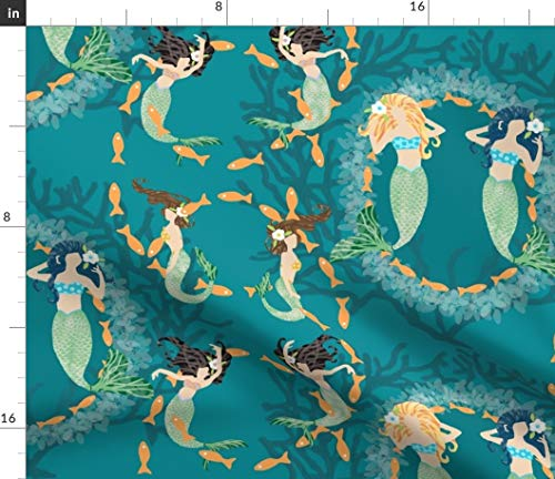 Spoonflower Mermaids Fabric Playful Mermaids with Fish & Coral by Lauriekentdesigns Printed on Fleece Fabric by The Yard